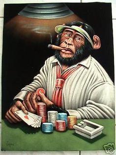 Monkey poker dealer black velvet oil painting handpainted signed art