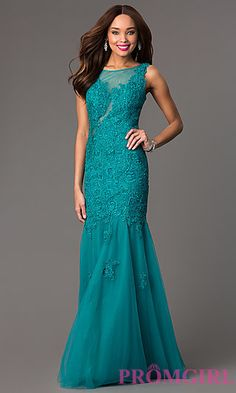 Sleeveless Floor Length Lace Dress by Milano at PromGirl.com