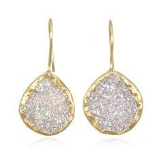White Druzy Earrings by Coralia Leets