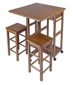 Winsome Wood Space Saver Table with 2 Stools, Teak Table And Chairs, A Table, Wood Table, Space Saver Table, Kitchen Island Table, Kitchen Carts, Kitchen Ideas, Kitchen Storage, Kitchen Islands
