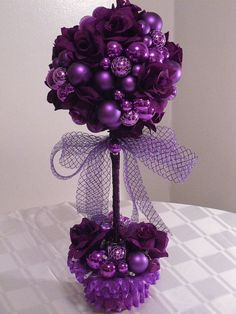 Holiday Centerpiece Purple Passion Topiary by MajesticSilkFlowers, $40.00