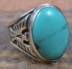 Item #776K- Mans Navajo Turquoise Eagles Ring sz.11 by V.Blackgoat