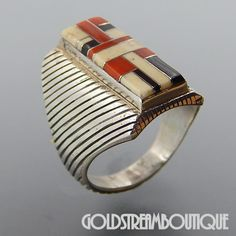 NATIVE AMERICAN VINTAGE SIGNED NAVAJO SIGNED STERLING SILVER CORAL JET AGATE MOSAIC INLAY RING SIZE 12.25