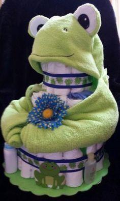 BABY SHOWER~3-Tier-Frog-Diaper-Cake