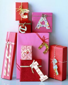 With a pencil, draw (or stencil) the recipient's initial onto an old card, and cut it out. Punch a hole in the letter, and tie to gift with yarn or ribbon.
