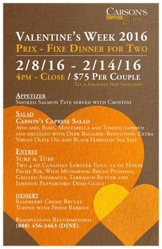 Valentine's Day Prix Fixe Menu Smoked Salmon Pate, Menu, Dinner For Two, Caprese Salad, Avocado, Appetizers, Valentines, American, Day