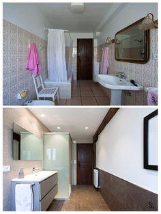 Antes y después de la reforma en este baño de la localidad navarra de Alcoz.