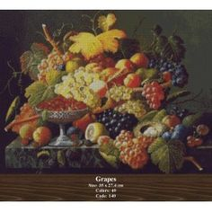 Grapes Counted Cross Stitch Kits, Tapestry, Flowers, Painting, Art, Hanging Tapestry, Art Background, Tapestries, Painting Art