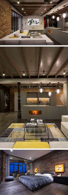 This beautiful loft has a gray color palette with pops of yellow. Great colors for a modern industrial space. Modern Industrial Loft Apartment in Ukraine