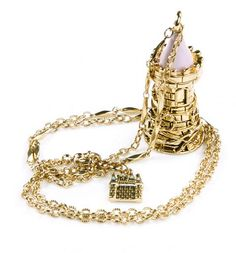 Antique Gold Plated Perfume Bottle Tower Pendant Necklace  from Disney Couture