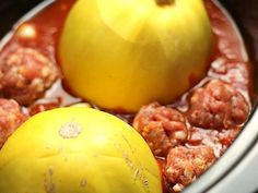 One of my most popular recipes, where I discovered that you can fully cook a spaghetti squash in your crock pot! If you haven& tried it yet, I highly suggest you do so! Spaghetti Squash And Meatballs, Paleo Spaghetti Squash, Paleo Recipes, Real Food Recipes, Cooker Recipes, Advocare Recipes, Free Recipes, Stupid Easy Paleo
