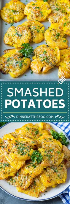 These smashed potatoes are baby potatoes that are boiled until tender, then smashed flat, topped with garlic and herb butter, and roasted until crispy and browned. Side Dishes For Chicken, Dinner Side Dishes, Side Dishes Easy, Veggie Recipes Healthy, Potato Recipes, Crockpot Mashed Potatoes, Marinated Pork Chops, Potato Wedges Baked, Herb Butter