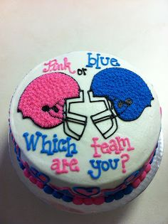 Ericaaa please have a reveal party with one of these cakes!!!!!!    Baby gender reveal cake idea.  Love it! Especially because when we find out it should be around the time of the super bowl