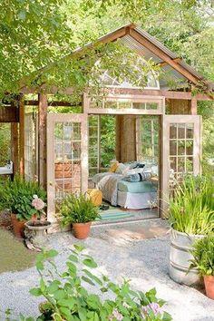 Craftsman Landscape/Yard with Gazebo, Arched window, Pathway, Specialty Window, Bird bath, French doors, Transom window
