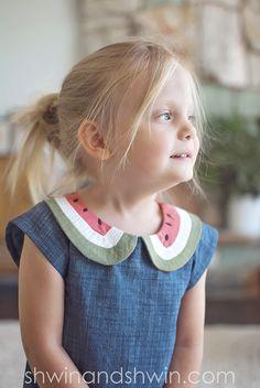 Summer Breeze Baby Dress {Free PDF Pattern} - Shwin and Shwin Watermelon Dress, Cute Watermelon, Onesie Pattern, Collar Pattern, Sewing Patterns Free, Free Pattern, Kids Patterns, Clothing Patterns, Dress Patterns