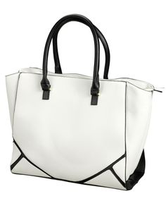 Roomy, boxy bag in white faux leather with black details, straps and lining | Gina Tricot Accessories | www.ginatricot.com