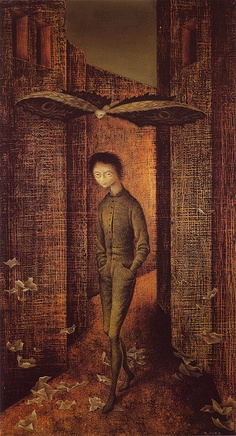 "'Nino y mariposa"" (Boy and Butterfly) Oil on masonite, 1961 Remedios Varo"