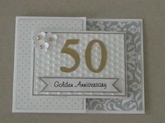 50th Wedding Anniversary Card - Joy Fold card.  Used small BasicGrey magnet for closure.