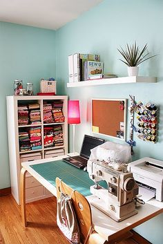 Sewing nook, sewing table, my sewing room, sewing spaces, sewing st Sewing Room Design, Sewing Spaces, My Sewing Room, Sewing Rooms, Sewing Desk, Sewing Art, Small Sewing Space, Small Spaces, Sewing Tables
