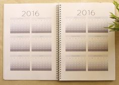 Year to spread calendar included in planner pages designed by Cathartic Malarkey.