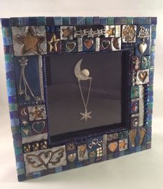 Jewelry Tiled Moon and Stars Mosaic Baby Shadow Box