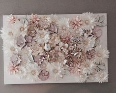 White flowers w fabric paint on canvas and spray paint white