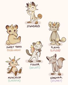 grouclons:  Are ppl still doin these? Here's some meowth variations! omgI think my fav is longhair, ahaha (They aren't all born without a coin, that one just happened to lose theirs)