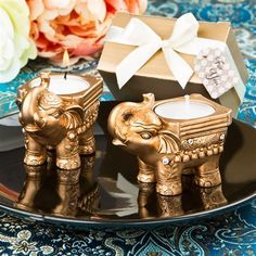 Gold Good luck Indian Elephant candle holder …