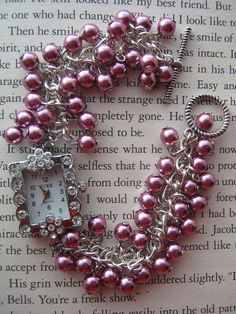 made with the chain and bead charms Diy Bracelets And Anklets, Handmade Jewelry Bracelets, Handcrafted Jewelry, Jewelry Crafts, Beaded Jewelry, Beaded Bracelets, Watch Bracelets, Jewellery, Beaded Watches