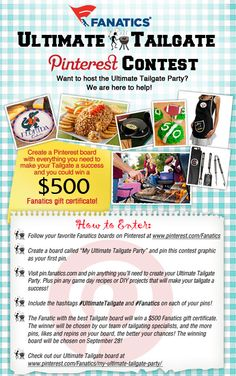 Football season is here! Enter the Fanatics Ultimate Tailgate Contest for your chance to win a $ 500 Fanatics Gift Certificate! #UltimateTailgate #Fanatics Terms & Conditions: http://fanaticssweeps.com/ultimate_tailgate_pinterest/