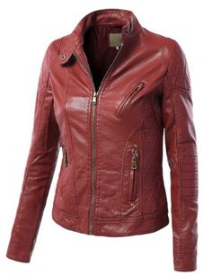 MBJ Womens Faux Leather Zip Up Moto Biker Jacket With Stitching Detail Made By Johnny