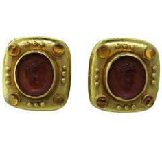 Elizabeth Locke Carnelian Intaglio Citrine Gold Earrings