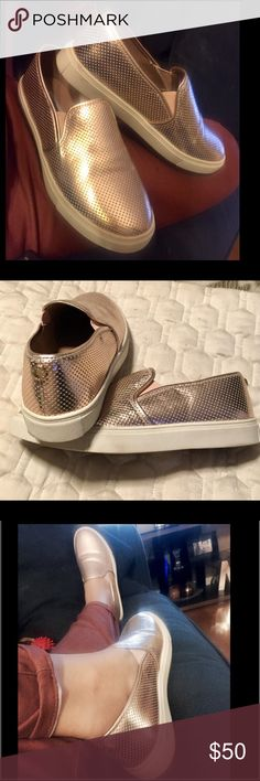 Rose Gold Ezeke Steve Madden slip ons!! These are almost new .  I bought them here but they  fit a little snug on me . So sad to let them go ! They are soooo adorable!  Steve Madden Shoes Espadrilles