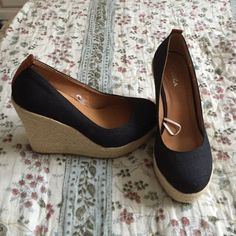 Black and Tan Wedges Closed toe wedge Dots Shoes Wedges