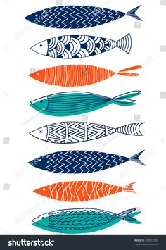 Seamless Pattern Of Fish In The Style Of Doodle Stock Vector - Illustration of climate, orange: 94404152 - Illustration about Seamless pattern of fish in the style of doodle. Illustration of climate, - Abstract Illustration, Stoff Design, Fish Drawings, Fish Patterns, Art Patterns, Fish Design, Fish Art, Linocut Prints, Pattern Design