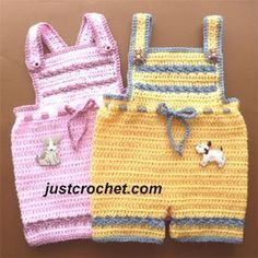 Free baby crochet pattern short pants with bib usa ~ maybe make it in cotton for summer ~ size 3-6 mos. ~ FREE - CROCHET