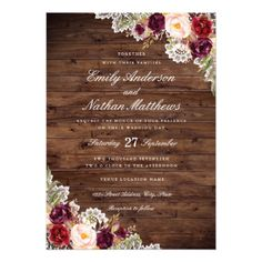 Rustic Burgundy Floral Lace Wedding Invitation - wood wedding style nature diy customize personalize marriage