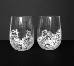Set of 2 Handpainted Lace Wine Glasses - Custom Order Your Own Set by BallouSky on Etsy https://www.etsy.com/listing/213858548/set-of-2-handpainted-lace-wine-glasses