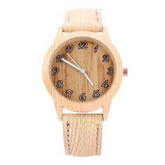 Awesome Geneva 150717-1 Wood-like Women Quartz Watch Leather
