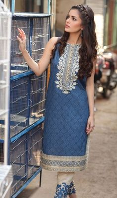 Buy Embroidery Designer Lawn Suit With Chiffon Dupatta With Free Delivery From WAAYClothing. Nice Dresses, Dresses For Work, Summer Dresses, Open Hairstyles, Lawn Suits, Spring Collection, Cotton Dresses, Kurti, Dress Outfits