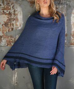 Another great find on #zulily! Blue Stripe-Hem Poncho - Women #zulilyfinds