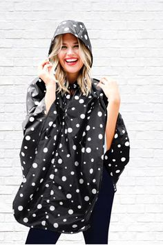 DM Merchandising's Sage & Emily: Fold & Go Rain Poncho - don't let a little rain dampen your style Rain Poncho, Polka Dot Top, Sage, Your Style, How To Make, Travel, Tops, Women, Fashion