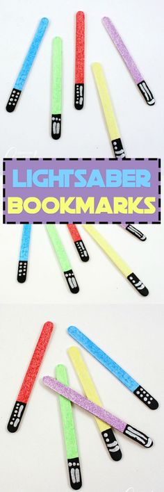 Keep your place in your favorite books by making glittery lightsabers in different colors! These lightsaber bookmarks are great for home or school. #starwars #lightsaber #starwarscrafts