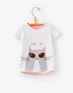 Babymaggie Bright White Cat Applique Jersey Top   Joules UK
