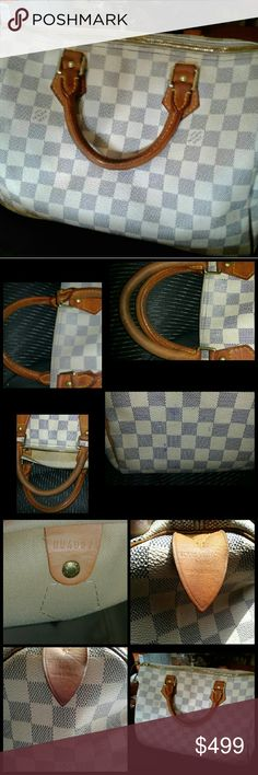 Authentic Louis Vuitton (authenticated by meme treasures)  damier azur speedy 30 Comes with  lock and 2 keys It's in good shape for the age Light wear I corners Price reflects flaws Has a few Ink spots on the bottom and inside Stitching came out of one of the tabs and had a tiny hole under it in canvas but it has been sealed. Price reflects all flaws Other than that it's in preowned condition I can email more pics and will take less thru p.  P.  No scams and I will not take a check. No…