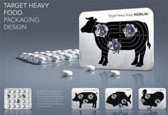 -Technique: aims to aid digestion.In back side of tablet, printed animal's pictures which represent the meats we ate and a target. While each pill taken out will make a loophole. - Communication: black and white colors, simple but give an safe and effective impression. People take out one pill like bullet loaded,  take medicine like aiming and shooting. While digestion problem solved, target achieved. Making take pills to be a playful game. - Components: made of aluminum as other medicines.