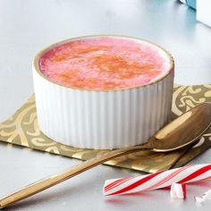 Peppermint Brulee! Get everything delicious about a candy cane -- without the sticky fingers -- in this sweet custard dessert.