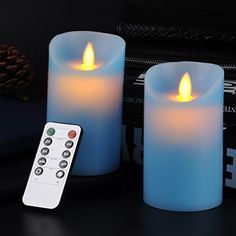 Calmlife Classic Pillar Real Wax Flameless LED Candles 3 X 5 with Timer 10key Remote Control Feature Blue Color  Set of 2 2 Blue * Visit the image link more details.