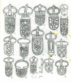 """Khazar Buckle Types After """"Materials in Archaeology, History and Ethnography of Tauria"""" , Vol III"""