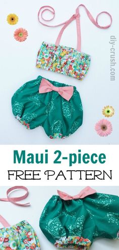 Free Maui 2-piece Pattern by DIY Crush. Sew this adorable outfit for your baby girls this summer! She will look so cute for pictures!